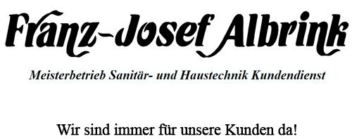 Franz-Josef Albrink Meisterbetrieb Sanitär- und Haustechnik Kundendienst